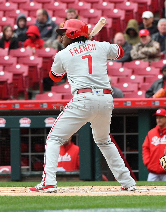 Philadelphia Phillies Maikel Franco (7) during a game against the Cincinnati Reds on April 6, 2017 at Great American Ballpark in Cincinnati, OH. The Reds beat the Phillies 4-7.