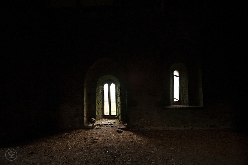 "Leap Castle's famously haunted ""Bloody Chapel"" strangely peaceful on a soft autumn day."