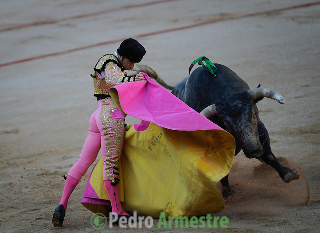 Spanish matador Fernando Robleño performs a pass to a Miura bull during a bullfight of the San Fermin festival at Pamplona's bullring on July 8, 2012, in Pamplona, northern Spain. The festival is a symbol of Spanish culture that attracts thousands of tourists to watch the bull runs despite heavy condemnation from animal rights groups . (c) Pedro ARMESTRE