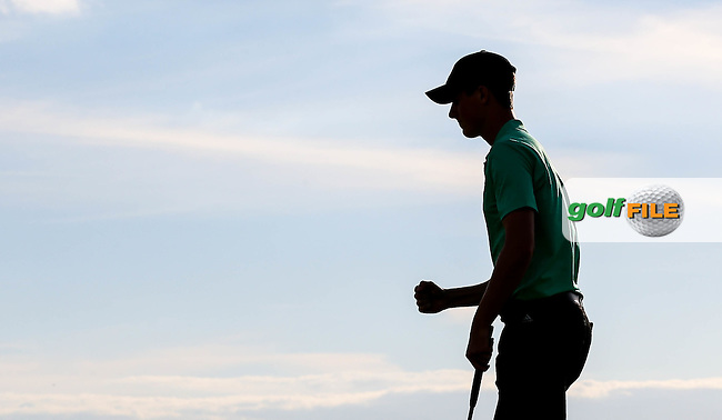 Gary Hurley (IRL) wins the 16th hole to go 1UP during Sunday afternoon Singles matches of The Walker Cup 2015 played at Royal Lytham and St Anne's, Lytham St Anne's, Lancashire, England. 13/09/2015. Picture: Golffile | David Lloyd<br /> <br /> All photos usage must carry mandatory copyright credit (&copy; Golffile | David Lloyd)