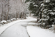 Franconia Notch State Park - Franconia Bike Path near Echo Lake in Franconia, New Hampshire USA during the autumn months after a dusting of snow.