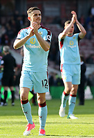Burnley's Robbie Brady applauds the travelling support at the final whistle<br /> <br /> Photographer David Shipman/CameraSport<br /> <br /> The Premier League - Middlesbrough v Burnley - Saturday 8th April 2017 - Riverside Stadium - Middlesbrough<br /> <br /> World Copyright &copy; 2017 CameraSport. All rights reserved. 43 Linden Ave. Countesthorpe. Leicester. England. LE8 5PG - Tel: +44 (0) 116 277 4147 - admin@camerasport.com - www.camerasport.com