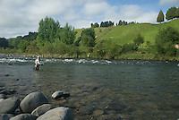 Mann fisker med flue i Whakapapa River på New Zealand ---- Man flyfishing Whakapapa River, New Zealand