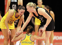 23.09.2012 Silver Ferns Laura Langman and Australian Madison Brown and Natalie Medhurst in action during the third netball test match between the Silver Ferns and the Australian Diamonds at CBS Canterbury Arena in Christchurch. Mandatory Photo Credit ©Michael Bradley.