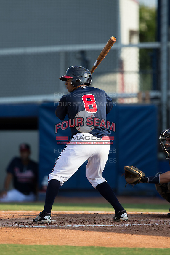 Carlos Martinez (8) of the Danville Braves at bat against the Pulaski Yankees at American Legion Post 325 Field on July 31, 2016 in Danville, Virginia.  The Yankees defeated the Braves 8-3.  (Brian Westerholt/Four Seam Images)