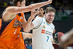 Real Madrid Luka Doncic and Valencia Basket Tibor Pleiss during Liga Endesa match between Real Madrid and Valencia Basket at Wizink Center in Madrid , Spain. March 25, 2018. (ALTERPHOTOS/Borja B.Hojas)