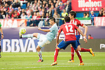 Atletico de Madrid's Filipe Luis and Augusto and Celta de Vigo's Nolito during La Liga Match at Vicente Calderon Stadium in Madrid. May 14, 2016. (ALTERPHOTOS/BorjaB.Hojas)