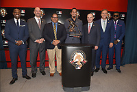 WASHINGTON DC - OCTOBER 25: 2019 Roberto Clemente Award winner Carlos Carrasco #59 of the Cleveland Indians (center) poses with past award winners Harold Reynolds, John Smoltz, Al Leiter and David Ortiz, Luis Clemente, son of the late Roberto Clemente and Commissioner Robert D. Manfred, Jr. prior to World Series Game 3: Houston Astros at Washington Nationals on Fox Sports at Nationals Park on October 25, 2019 in Washington, DC. (Photo by Frank Micelotta/Fox Sports/PictureGroup)