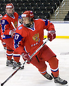 Andrey Sergeev (Russia - 11), Kirill Kabanov (Russia - 17) - Russia defeated Finland 4-0 at the Urban Plains Center in Fargo, North Dakota, on Friday, April 17, 2009, in their semi-final match during the 2009 World Under 18 Championship.