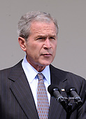 United States President George W. Bush delivers a statement on the Russian-Georgian conflict in South Ossetia in the Rose Garden at the White House in Washington on August 13, 2008. Bush announced he will be sending US Secretary of State Condoleezza Rice to the Georgian capitol of Tbilisi. <br /> Credit: Kevin Dietsch / CNP