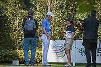 LPGA player Lorena Ochoa (MEX) shares a chat with Jordan Spieth (USA) on the 17th tee as she prepares to golf the last two holes with Jordan Spieth (USA) during the preview of the World Golf Championships, Mexico, Club De Golf Chapultepec, Mexico City, Mexico. 2/28/2018.<br /> Picture: Golffile | Ken Murray<br /> <br /> <br /> All photo usage must carry mandatory copyright credit (&copy; Golffile | Ken Murray)