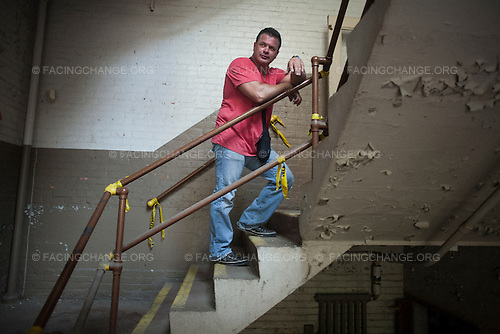 Scranton, Pennsylvania.August 3, 2012..Chris Cordaro, one of the redevelopers of the former Scranton Lace Works factory...Photograph by Alan Chin.