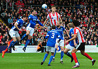 Lincoln City's Sean Raggett gets above the Macclesfield Town defence <br /> <br /> Photographer Andrew Vaughan/CameraSport<br /> <br /> Vanarama National League - Lincoln City v Macclesfield Town - Saturday 22nd April 2017 - Sincil Bank - Lincoln<br /> <br /> World Copyright &copy; 2017 CameraSport. All rights reserved. 43 Linden Ave. Countesthorpe. Leicester. England. LE8 5PG - Tel: +44 (0) 116 277 4147 - admin@camerasport.com - www.camerasport.com