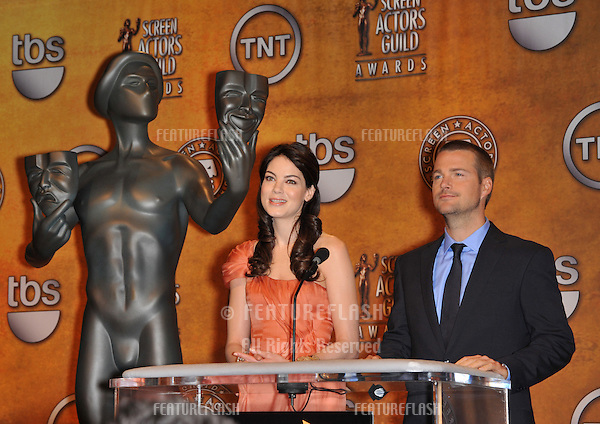 Michelle Monaghan & Chris O'Donnell at the nominations announcement for the 16th Annual Screen Actors Guild Awards at the Pacific Design Centre, Los Angeles..The SAG Awards will be presented on January 23rd 2010..December 17, 2009  Los Angeles, CA.Picture: Paul Smith / Featureflash