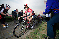 Jurgen Roelandts (BEL/Lotto-Belisol) up the Paterberg (max 20%)<br /> <br /> <br /> 57th E3 Harelbeke 2014