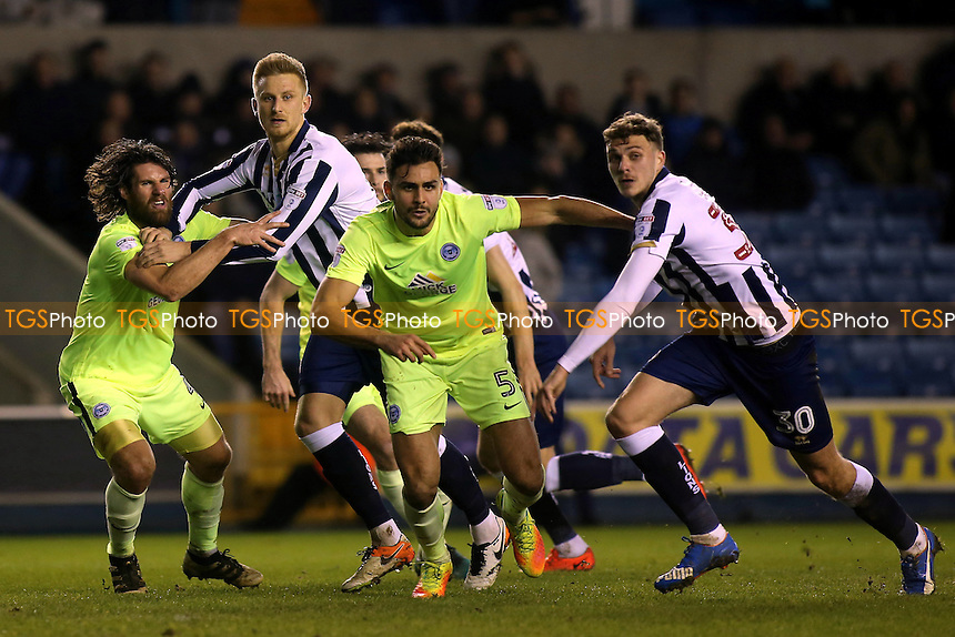 Millwall's Byron Webster and Harry Smith get ready to move forward and attack the ball as they await a corner during Millwall vs Peterborough United, Sky Bet EFL League 1 Football at The Den on 28th February 2017