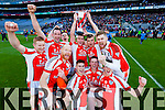 Brosna players celebrate after winning the Junior Football All Ireland Club Final in Croke Park on Saturday.