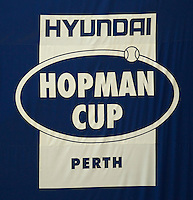HOPMAN CUP LOGO..05/01/2012, 5th January 2012, 05.01.2012..The HOPMAN CUP, Burswood Dome, Perth, Western Australia, Australia.@AMN IMAGES, Frey, Advantage Media Network, 30, Cleveland Street, London, W1T 4JD .Tel - +44 208 947 0100..email - mfrey@advantagemedianet.com..www.amnimages.photoshelter.com.