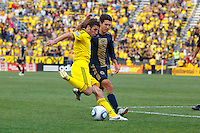 24 OCTOBER 2010:  Columbus Crew defender Frankie Hejduk (2) and Philadelphia Union midfielder Shea Salinas (11) during MLS soccer game at Crew Stadium in Columbus, Ohio on August 28, 2010.