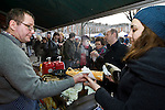 "BRUSSELS - BELGIUM - 08 JANUARY 2012 -- Marolles the bohemian city part of Brussels. -- Philippe Charlotte serves the best ""white Boudin-sausage hot-dogs"" in town. La Boucherie Charlotte is just opposite the flee-market on Place Jeu de Balle. -- PHOTO: Juha ROININEN /  EUP-IMAGES"