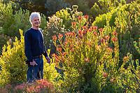 Rick McCain with Leucadendron 'Rising Sun', Cone bush South African shrub on his farm - Wild Ridge Organics