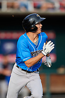 Akron RubberDucks designated hitter Tyler Krieger (10) runs to first base during a game against the Harrisburg Senators on August 18, 2018 at FNB Field in Harrisburg, Pennsylvania.  Akron defeated Harrisburg 5-1.  (Mike Janes/Four Seam Images)