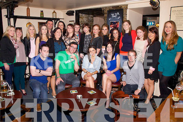 A Canadian Wake was held for Bernadette O'Sullivan seated front centre from Dromid, in the Anchor Bar Cahersiveen on Saturday night last - Bernadette heads off on her new adventure this Saturday.
