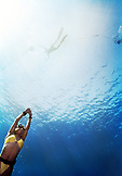 CAYMAN ISLANDS, Grand Cayman, Canadien National freediving team practices for a competition in the Caribbean Sea