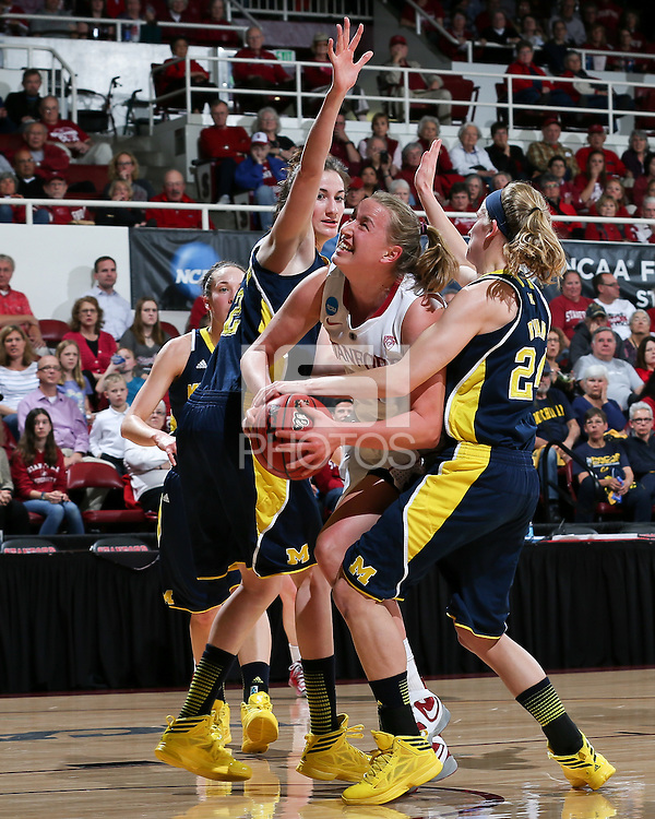 STANFORD, CA - March 26, 2013: Stanford Cardinal's Mikaela Ruef in a second round game of the 2013 NCAA Division I Championship  versus Michigan at Maples Pavilion in Stanford, California.  The Cardinal defeated the Wolverines 73-40.