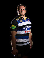 Henry Thomas poses for a portrait in the 2015/16 home kit during a Bath Rugby photocall on September 8, 2015 at Farleigh House in Bath, England. Photo by: Patrick Khachfe / Onside Images