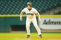 Joey Hainsfurther #1 of the Baylor Bears takes his lead off of first base against the Utah Utes at Minute Maid Park on March 5, 2011 in Houston, Texas.  Photo by Brian Westerholt / Four Seam Images
