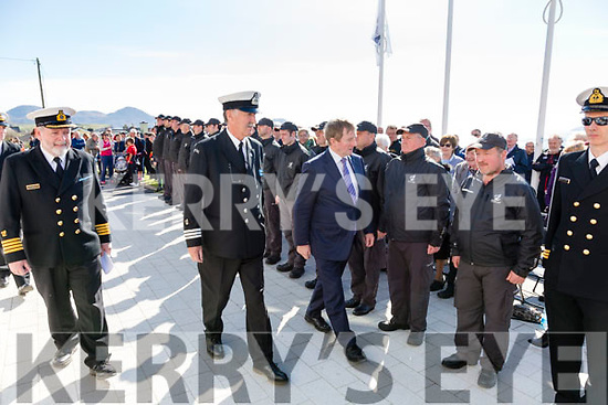An Taoiseach Enda Kenny inspects the Coast Guards guard of honor at the opening of the Iveragh Coast Guard Station in Waterville on Monday with left Declan Geoghegan, SAR Operations Manager, and centre Tony Donnelly OIC Iveragh Coast Guard.