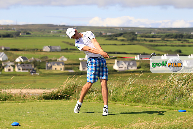 Jack Howard (Fota Island) on the 9th tee during Round 1 of The South of Ireland in Lahinch Golf Club on Saturday 26th July 2014.<br /> Picture:  Thos Caffrey / www.golffile.ie