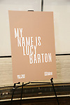 "Signage for the ""My Name Is Lucy Barton"" Photo Call at the MTC Rehearsal Studio on December 12, 2019 in New York City."