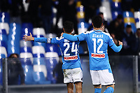 26th January 2020; Stadio San Paolo, Naples, Campania, Italy; Serie A Football, Napoli versus Juventus; Lorenzo Insigne and team mates of Napoli celebrate he scored in the 86th minute for 2-0