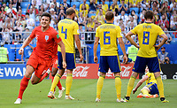 SAMARA - RUSIA, 07-07-2018: Harry MAGUIRE jugador de Inglaterra celebra después de anotar el primer gol de su equipo a Suecia durante partido de cuartos de final por la Copa Mundial de la FIFA Rusia 2018 jugado en el estadio Samara Arena en Samara, Rusia. / Harry MAGUIRE player of England celebrates after scoring the first goal of his team to Sweden during match of quarter final for the FIFA World Cup Russia 2018 played at Samara Arena stadium in Samara, Russia. Photo: VizzorImage / Julian Medina / Cont