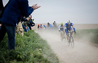 Florian SÉNÉCHAL (FRA/Deceuninck-Quick Step) & Tom Devriendt (BEL/Wanty-Gobert)<br /> <br /> 117th Paris-Roubaix 2019 (1.UWT)<br /> One day race from Compiègne to Roubaix (FRA/257km)<br /> <br /> ©kramon