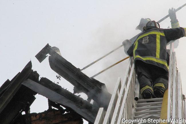 Boston 5 alarm fire at 62-64 Quint Avenue in Allston Saturday October 27, 2012.