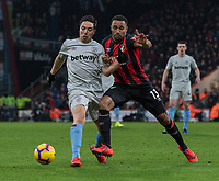 Bournemouth's Callum Wilson (right) battles with West Ham United's Samir Nasri (left) <br /> <br /> Photographer David Horton/CameraSport<br /> <br /> The Premier League - Bournemouth v West Ham United - Saturday 19 January 2019 - Vitality Stadium - Bournemouth<br /> <br /> World Copyright © 2019 CameraSport. All rights reserved. 43 Linden Ave. Countesthorpe. Leicester. England. LE8 5PG - Tel: +44 (0) 116 277 4147 - admin@camerasport.com - www.camerasport.com