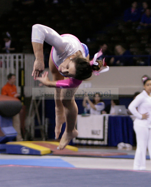 UK freshman Alexis Gross performs her floor routine during the gymnastics meet between Kentucky, Auburn, and Pittsburgh on 2/24/12 at Memorial Coliseum in Lexington, Ky. Photo by Quianna Lige | Staff