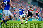James O'Donoghue Kerry in action against Colm Boyle Mayo in the All Ireland Semi Final in Croke Park on Sunday.