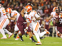Blacksburg, VA - September 30, 2017: Clemson Tigers wide receiver Ray-Ray McCloud (34) runs the ball during the game between Clemson and VA Tech at  Lane Stadium in Blacksburg, VA.   (Photo by Elliott Brown/Media Images International)