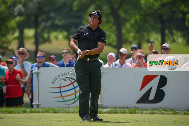Phil Mickelson (USA) watches his tee shot on 3 during 4th round of the World Golf Championships - Bridgestone Invitational, at the Firestone Country Club, Akron, Ohio. 8/5/2018.<br /> Picture: Golffile | Ken Murray<br /> <br /> <br /> All photo usage must carry mandatory copyright credit (© Golffile | Ken Murray)