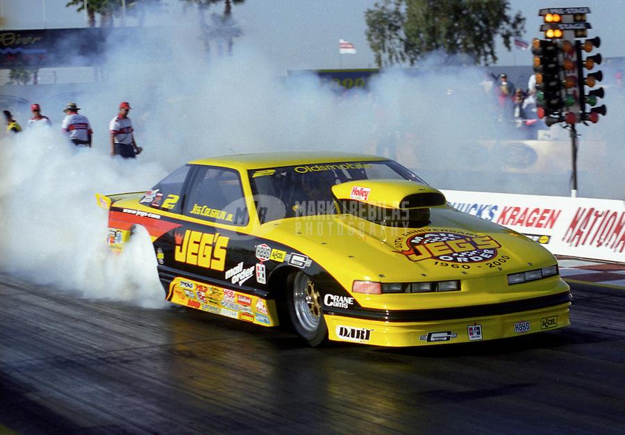 Feb. 25, 2000; Chandler, AZ, USA; NHRA pro stock driver Jeg Coughlin Jr does a burnout during the CSK Nationals at Firebird International Raceway. Mandatory Credit: Mark J. Rebilas-