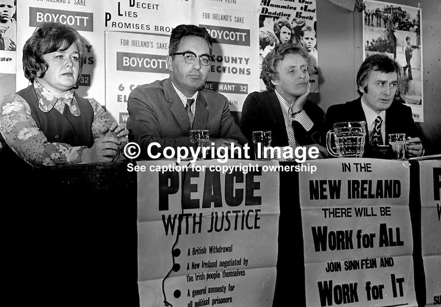 Provisional Sinn Fein Press Conference, South Link, Andersonstown, Belfast, N Ireland, left to right: Marie Moore, Belfast, Ruairi O Bradaigh, aka Rory O'Brady, party president, Maire Drumm, Belfast, and UNIDENTIFIED MAN. 197504170443.<br />