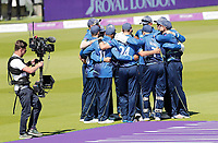 Kent team huddle prior to the start of the Royal London One Day Cup Final between Kent and Hampshire at Lords Cricket Ground, London, on June 30, 2018