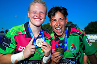 Manawatu's Lauren Balsillie & Crystal Mayes after the Women's cup final between Manawatu and Waikato on day two of the 2018 Bayleys National Sevens at Tauranga Domain in Tauranga, New Zealand on Sunday, 16 December 2018. Photo: Dave Lintott / lintottphoto.co.nz