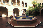 The center of focus in the House of Hospitality's courtyard in San Diego's Balboa Park is Woman of Tehuantepec, a sculpture of a seated Indian woman, executed by artist Donal Hord. The House of Hospitality was one of the many buildings constructed for the 1915–16 Panama-California Exposition, a celebration of San Diego and the completion of the Panama Canal. The sculpture was added during the remodeling of The House of Hospitality, with work done under the direction of noted architect Richard Requa for the 1935-1936 California-Pacific International Exposition.  The entire two-story structure was razed in 1995 due to structural problems, but was faithfully reconstructed and reopened in 1997. The spacious courtyard is a true courtyard, since it has a water element and is completely surrounded by habitable spaces.