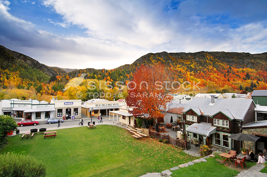 Looking down on the main street of Arrowtown and surrounding hillside of Autumn colour, Central Otago, South Island, New Zealand
