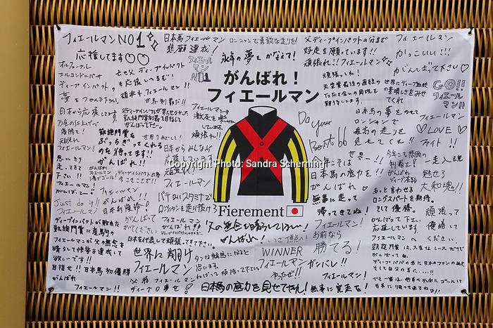 October 06, 2019, Paris (France) - Fan Poster for the Japanese Contender Fierement in the Prix de l'Arc de Triomphe on October 6 in ParisLongchamp. [Copyright (c) Sandra Scherning/Eclipse Sportswire)]